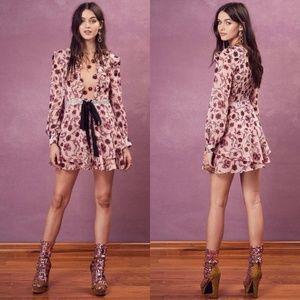 For Love and Lemons Floral Mesh Ruffled Mini Dress